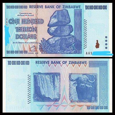 Billete zimbawbe de 100 trillones con serie