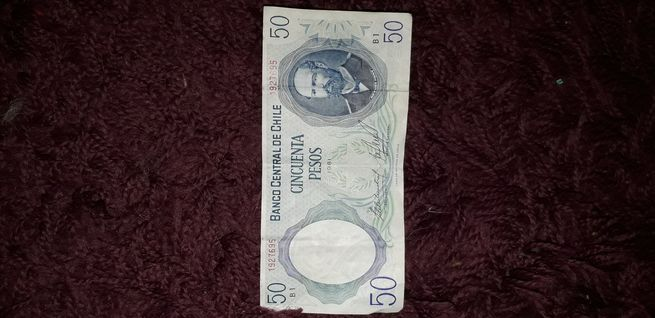 Vendo billete de 50 pesos chilenos 1981